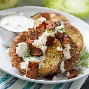 Fried Green Tomatoes with Buttermilk Feta Dressing
