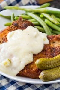 Fried Pork Chops with Pickle Juice Gravy