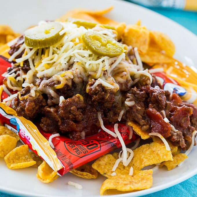 bag of fritos topped with chili