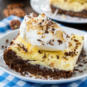 One German Chocolate Brownie topped with whipped cream.