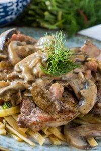 German Pork Cutlets with Mushroom Gravy