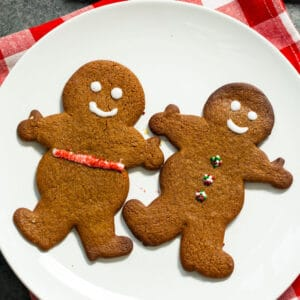 Two Gingerbread Cookies on a plate.