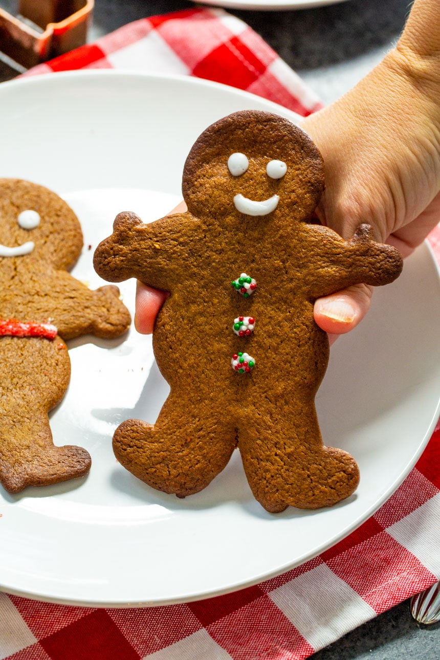 Hand holding a gingerbread cookie.