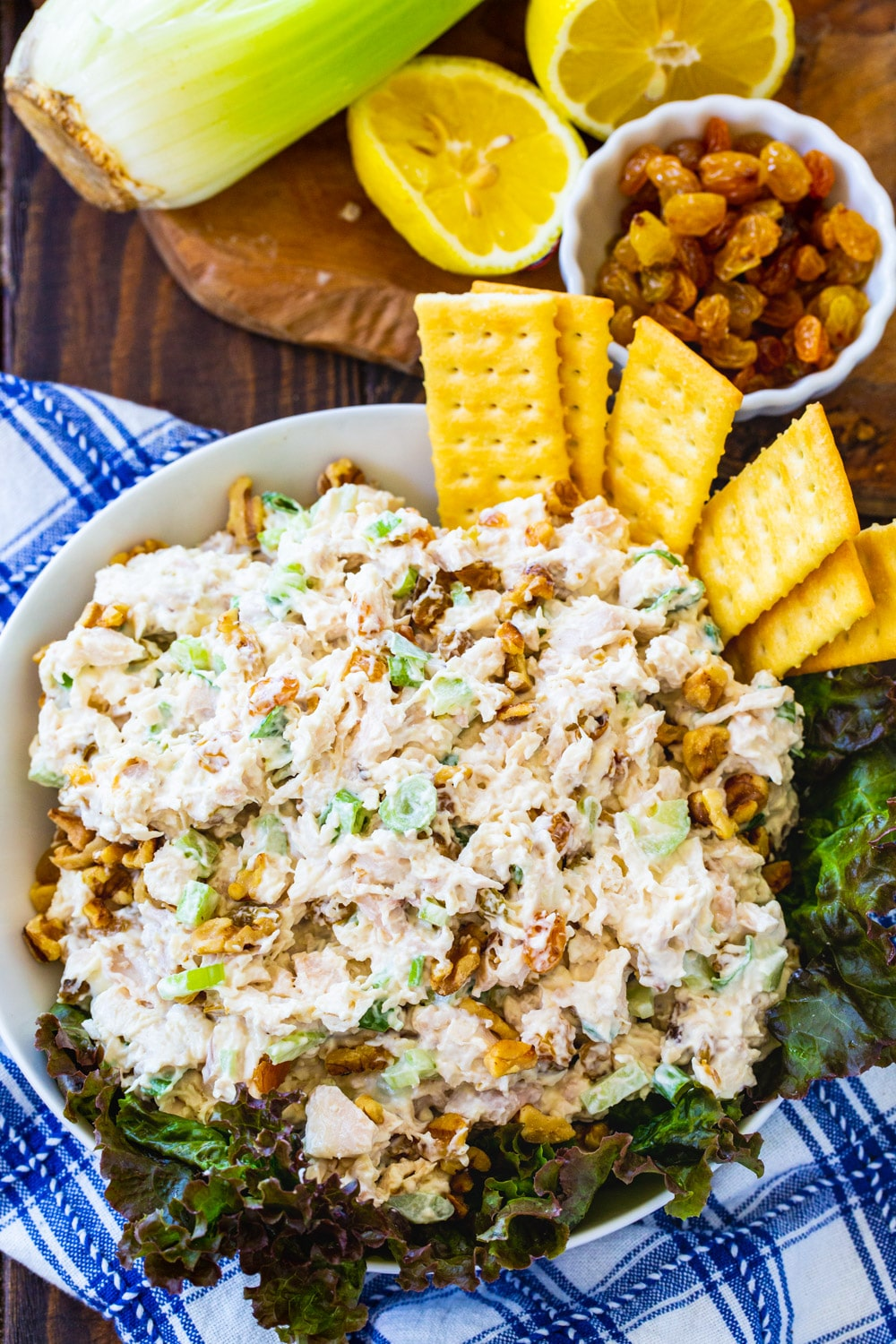 Overhead view of Golden Chicken Salad with bowl of raisins.