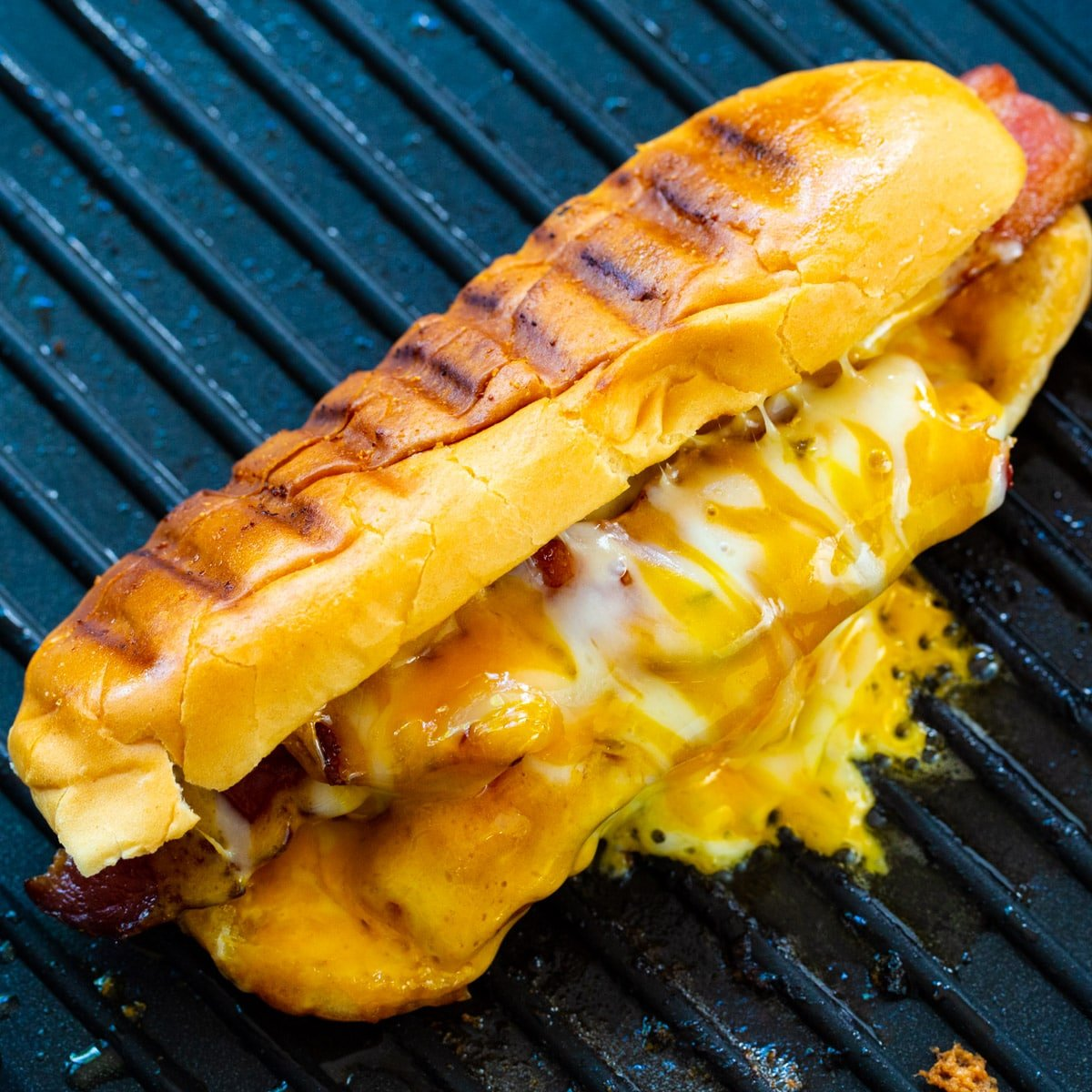 Grilled Cheese Hot Dogs on a grill pan.