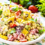 Grilled Corn Salad with Butter Beans on a white serving platter
