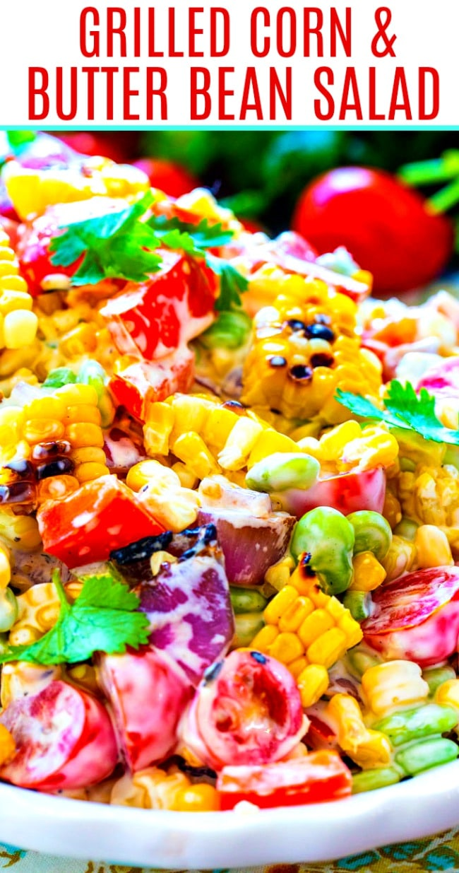close-up of Grilled Corn Salad