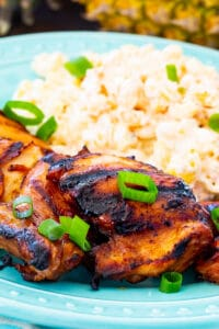 Grilled Chicken on a plate with macaroni salad.
