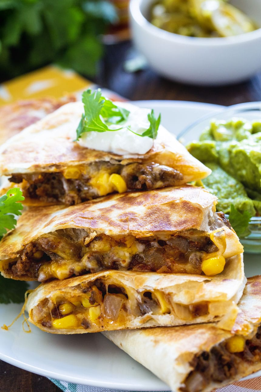 Close-up of Ground Beef Quesadilla cut itno wedges