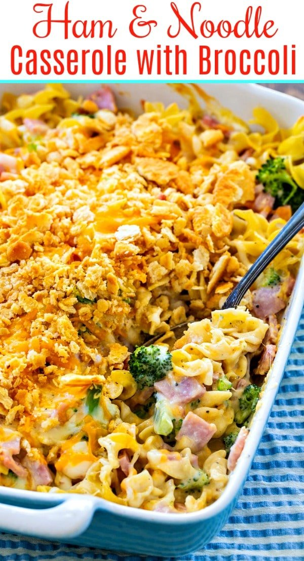 Casserole with Ham and Broccoli in a baking dish
