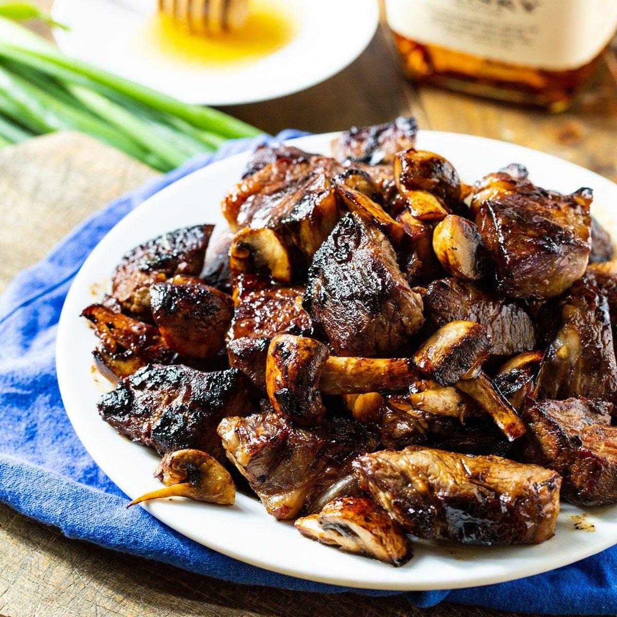 Honey Bourbon Steak Tips on a plate.