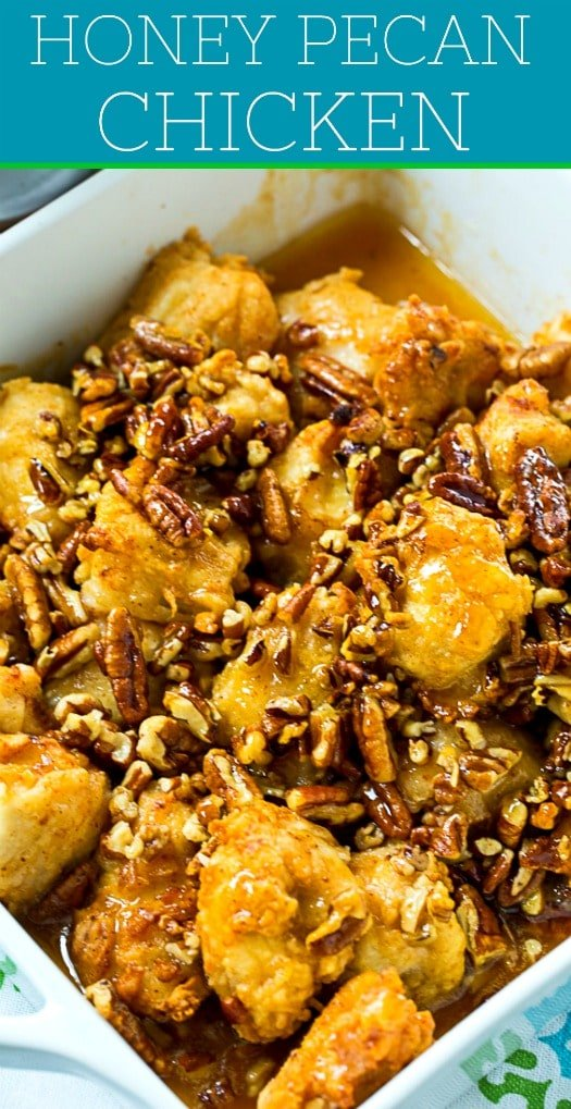 Honey Pecan Chicken is savory, sweet, and buttery #comfortfood #chicken