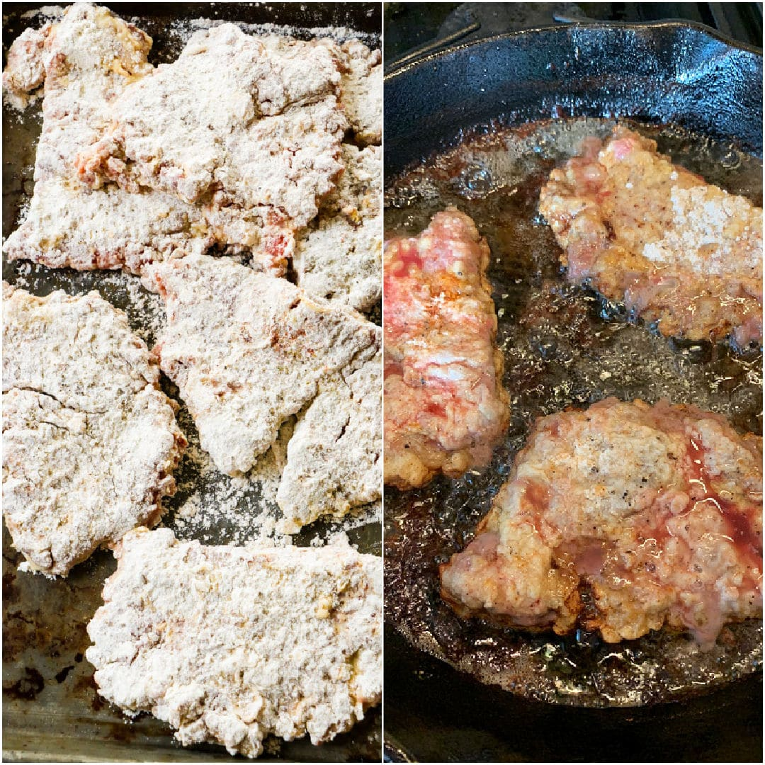 Collage showing breaded cubed steak and cubed steak being fried.