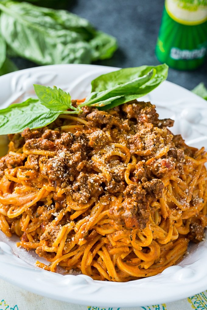 Instant Pot Cream Cheese Spaghetti with ground beef