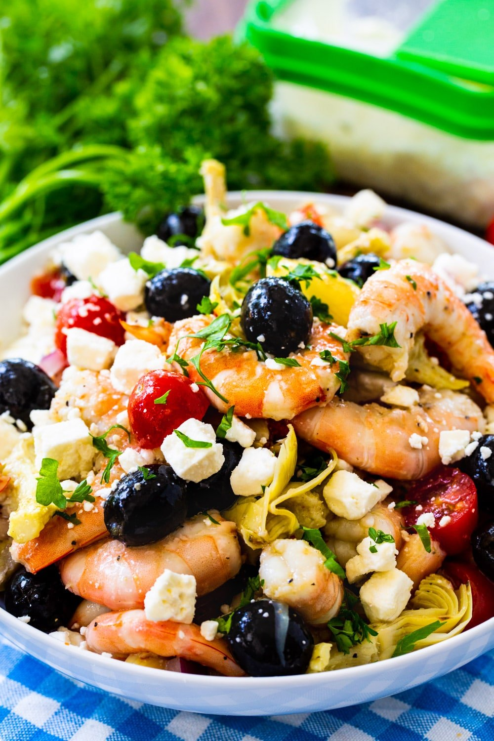 Italian Marinated Shrimp in a serving bowl.in a