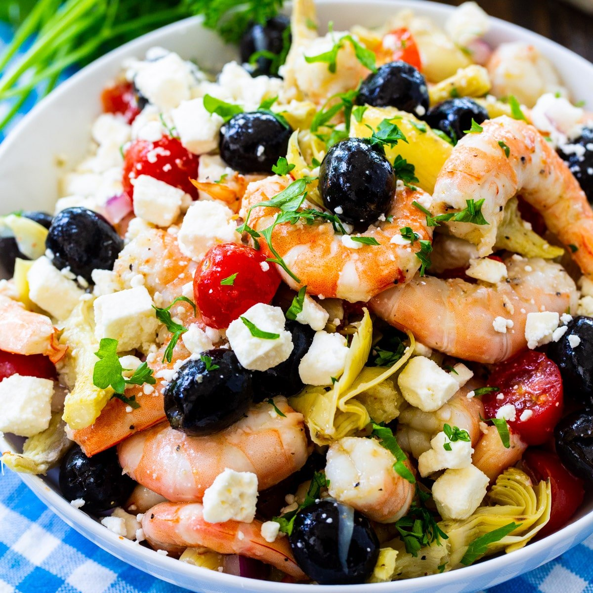 Italian Marinated Shrimp in a large bowl.