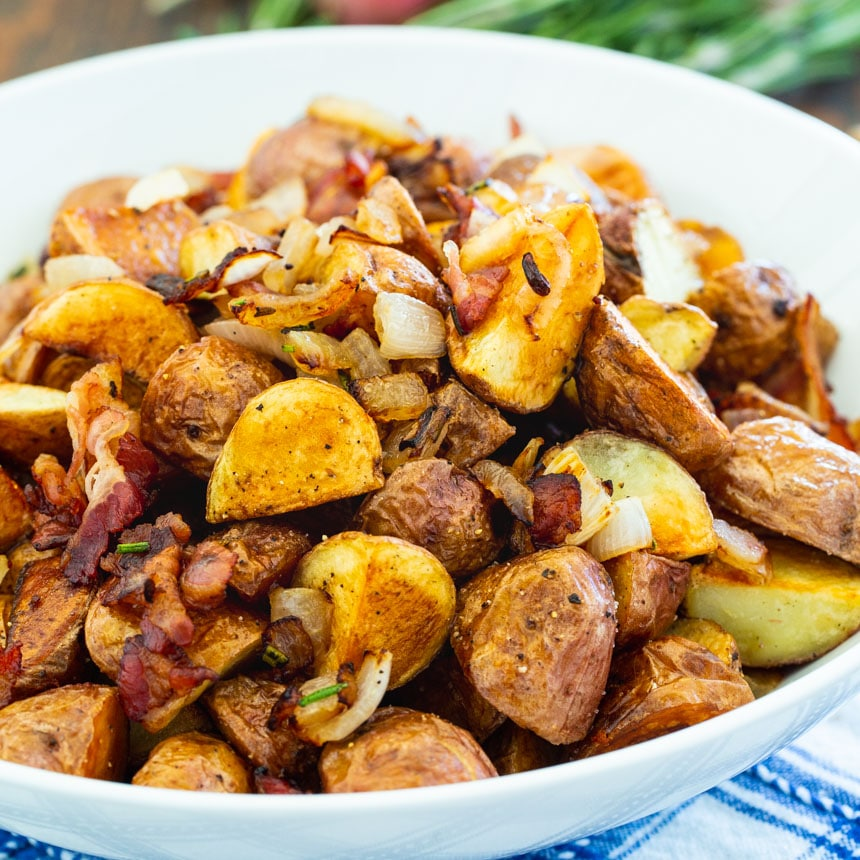 Roasted Potatoes in a white serving bowl