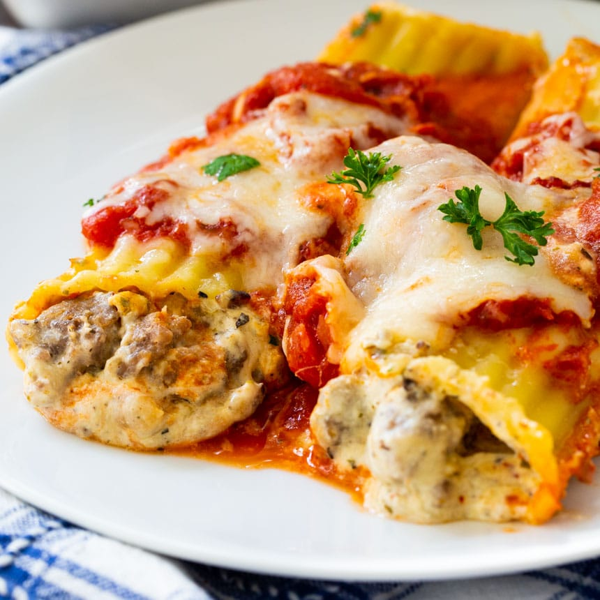 2 Italian Sausage Manicotti on a white plate