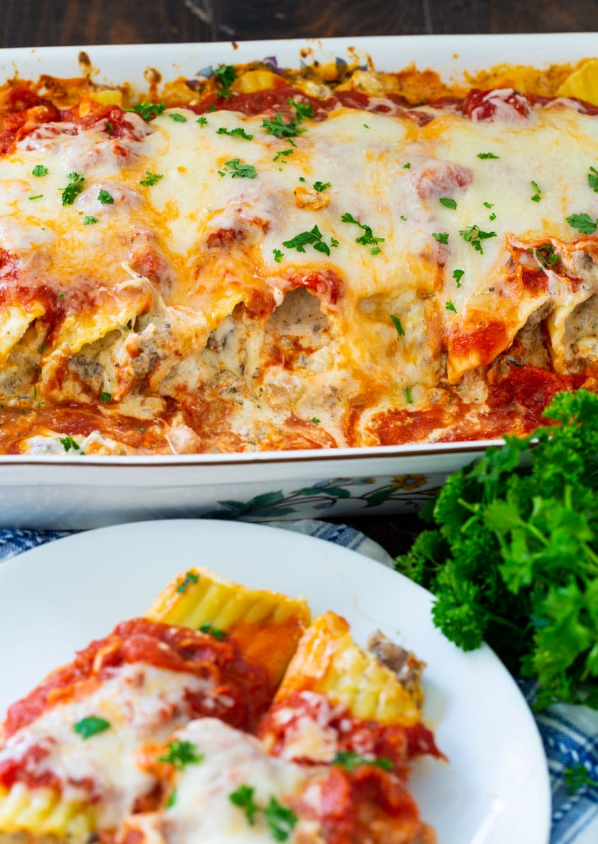 Italian Sausage Manicotti cooked in a 9x13-inch baking dish