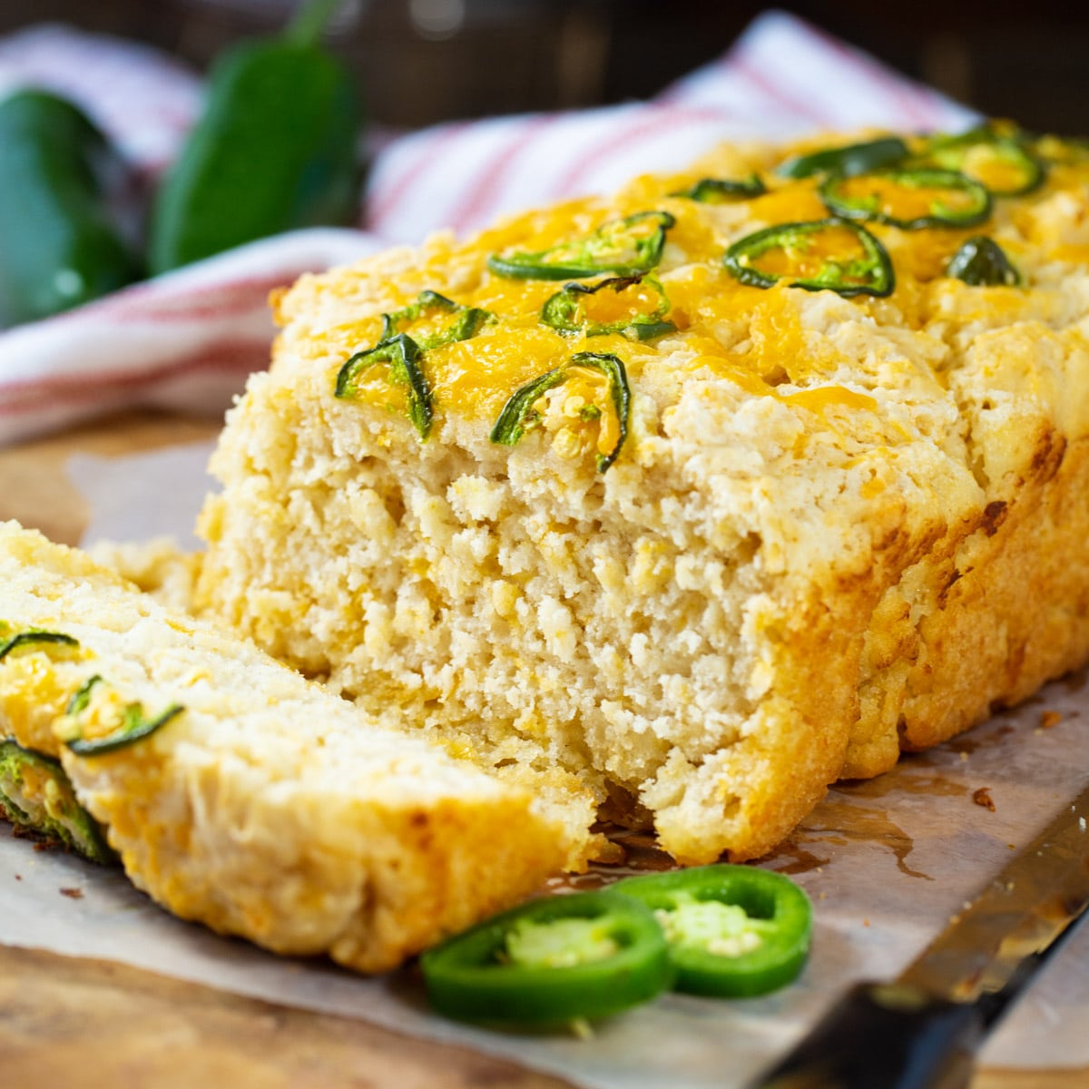 Jalapeno Beer Bread with a slice cut.