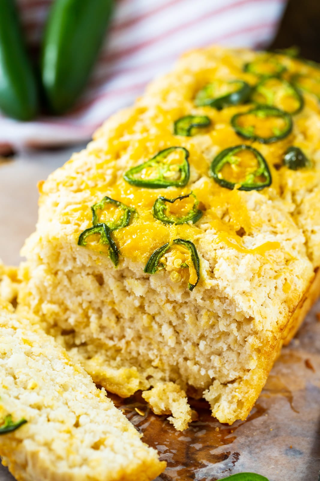 Beer Bread with sliced jalapenos on top.