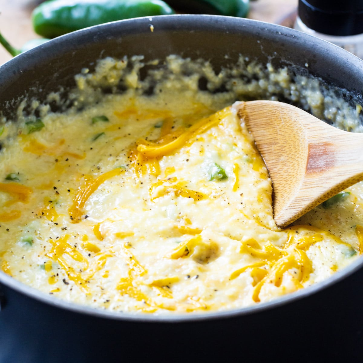 Jalapeno Cheddar Grits in a large pot.