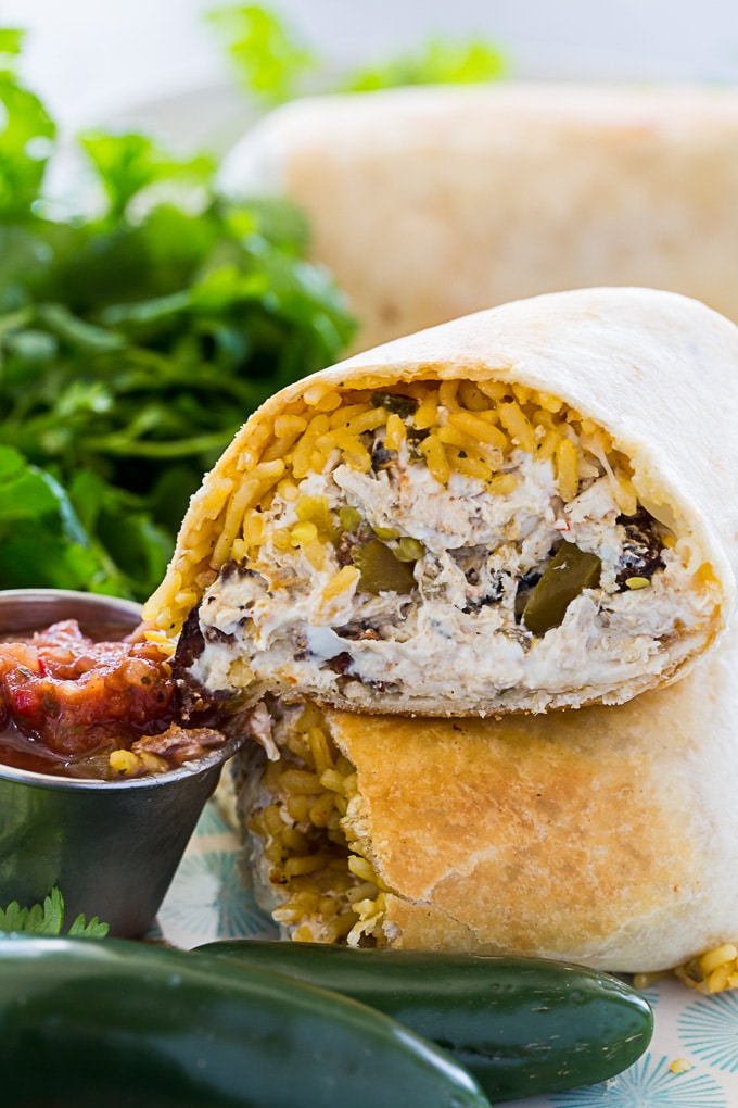 Jalapeno Popper Chicken Burritos