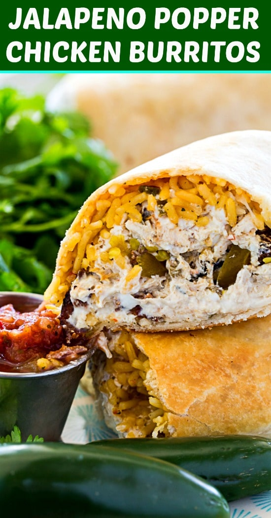 Jalapeno Popper Chicken Burritos with bacon