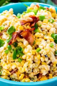 Jalapeno Popper Grilled Corn Salad in blue bowl.