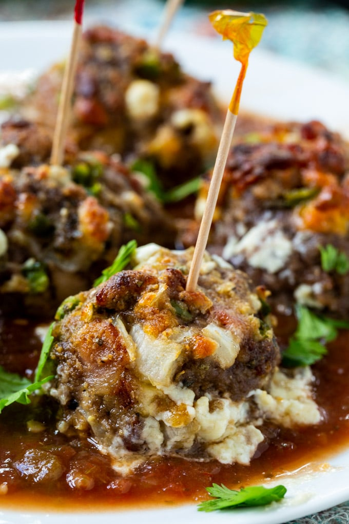Jalapeno Popper Meatballs with salsa