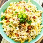 Jalapeno Popper Pasta Salad in green bowl.