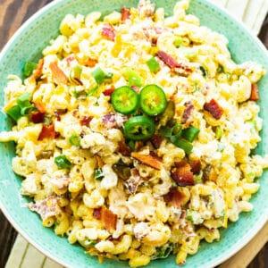 Jalapeno Popper Pasta Salad in green bowl.
