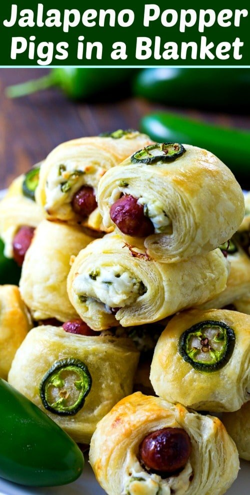 Jalapeno Popper Pigs in a Blanket #appetizer #spicy #gameday