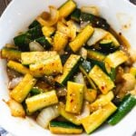 Zucchini cooked with soya sauce and teriyaki sauce