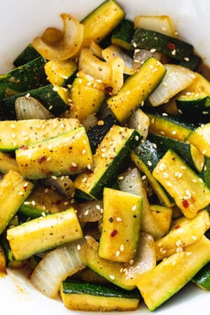 Japanese Zucchini in a white bowl.