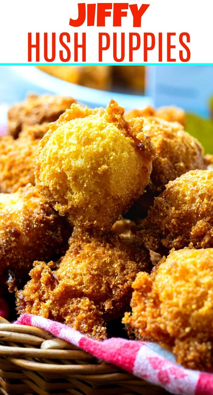 close-up of hush puppies in a basket