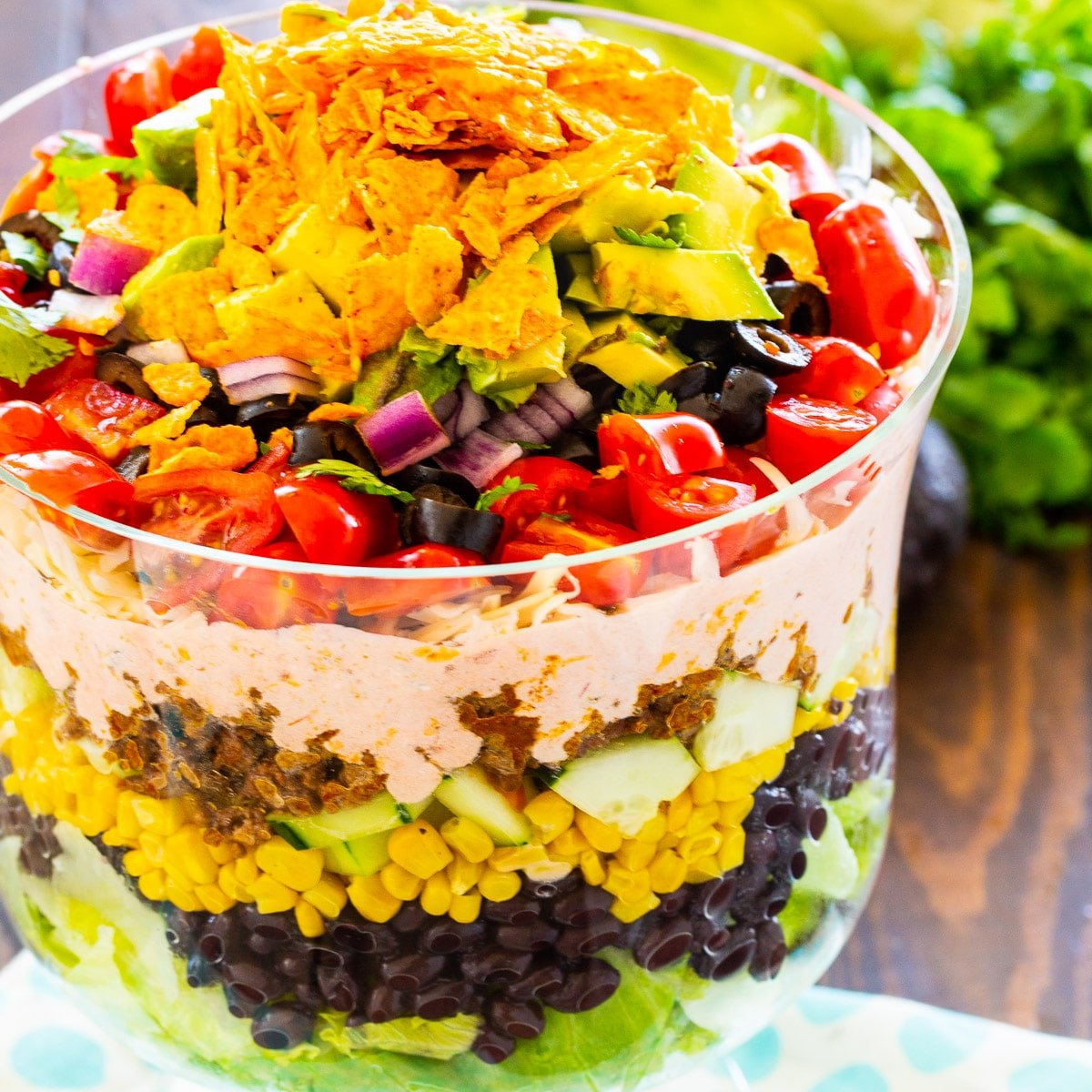 Taco Salad in a trifle bowl.