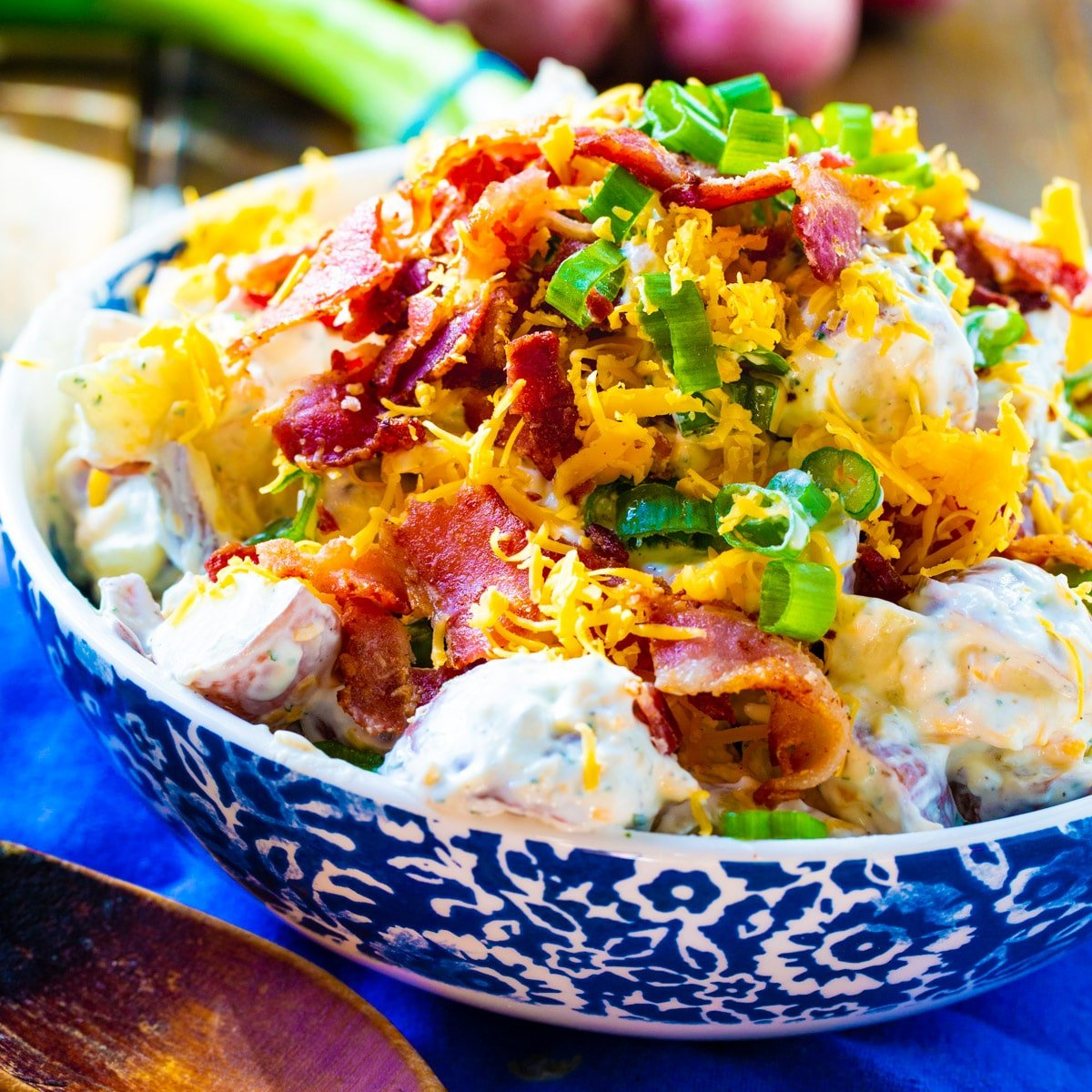 Loaded Ranch Potato Salad in a serving bowl.