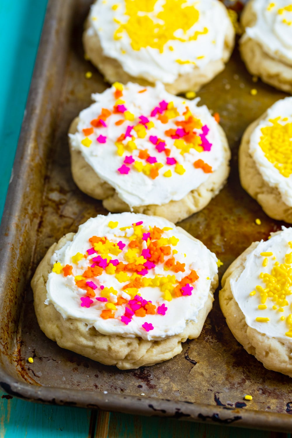 Lofthouse-Style Cookies on a baking sheet.
