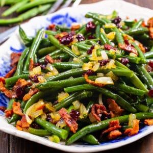 Maple Green Beans on a serving platter.