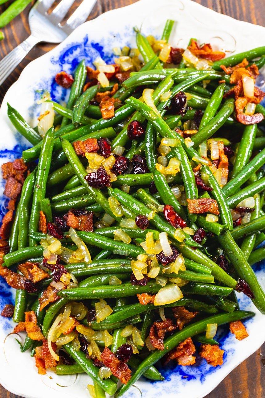 Overhead of Maple-Glazed Green Beans on serving platter.
