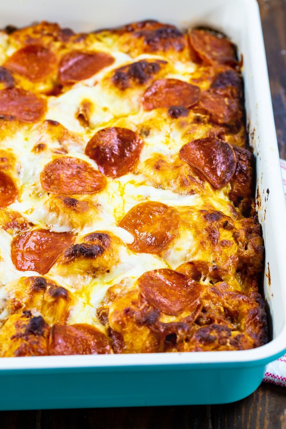 Bubble Up Pizza in a 9x13-inch baking pan.