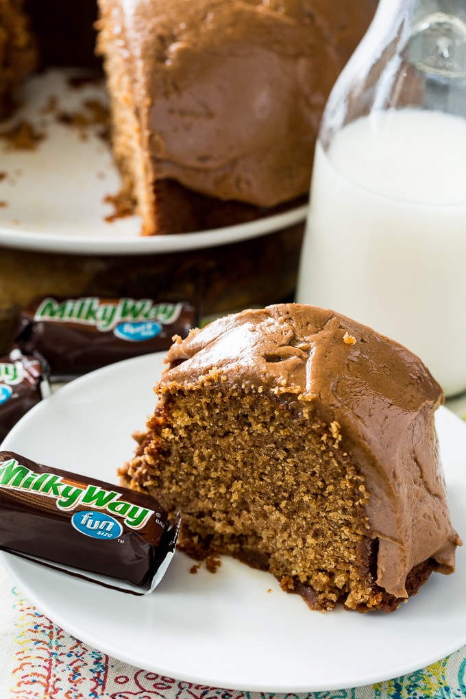 Milky Way Pound Cake with Chocolate Milky Way Frosting