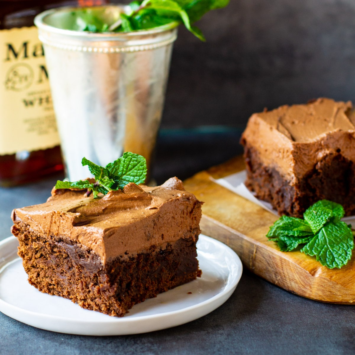 Mint Julep Brownie with Mint Julep in a cup.
