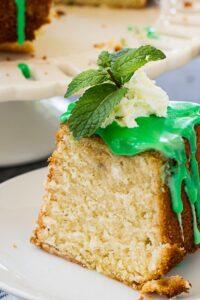 Mint Julep Cake with mint glaze