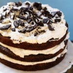 Mississippi Mudslide Cake topped with crushed oreos on a cake stand.