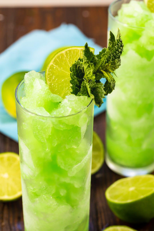 Close-up of frozen Mojito Slushie in a glass.