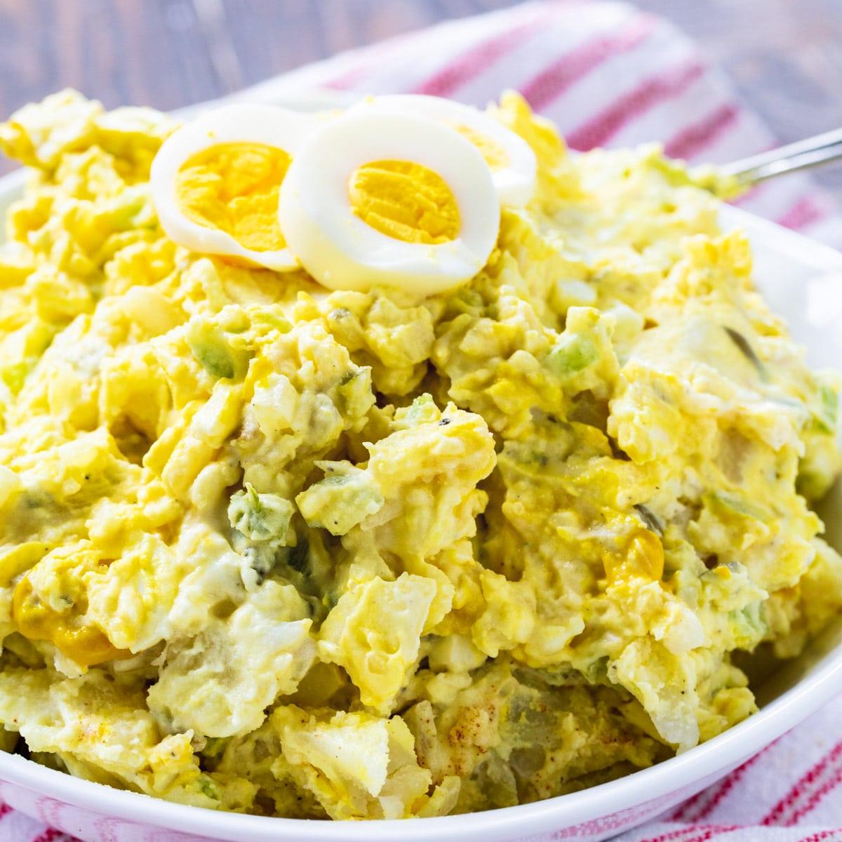 Southern Mustard Potato Salad in large white serving bowl.