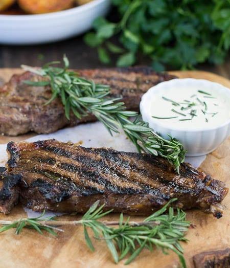 New York Strip Steaks with Horseradish Mustard Sauce ...