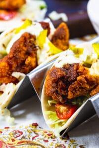 Two Nashville Hot Chicken Tacos